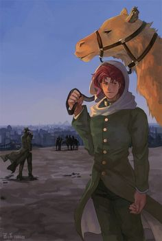 building camel desert evening gakuran horizon jojo no kimyou na bouken kakyouin noriaki kuujou joutarou leash male focus multiple boys red hair scarf school uniform z.i - Image View - Anime Manga, Anime Guys, Johnny Joestar, Jonathan Joestar, Wow Art, Free Anime, Jojo Bizzare Adventure, Best Series, Jojo Bizarre
