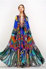 Long Rainbow and Floral Cape Tunic Ethnic Fashion, Hijab Fashion, Fashion Art, Floaty Dress, Maxi Dresses, Rainbow Gathering, Estilo Hippy, Boho Floral Dress, Haute Couture Fashion