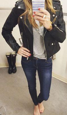 #winter #fashion / Black Leather Jacket / Grey Top / Navy Skinny Jeans