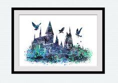 Hogwarts castle poster Harry Potter watercolor by ColorfulPrint