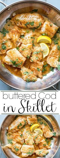Buttered Cod in Skillet. Ready in under 15 minutes and soo good! - Six Sisters' Stuff - - Buttered Cod in Skillet. Ready in under 15 minutes and soo good! Buttered Cod in Skillet. Ready in under 15 minutes and soo good! Seafood Dinner, Fish And Seafood, Seafood Menu, Seafood Bake, Cook Dinner, Seafood Pasta, Low Carb Recipes, Cooking Recipes, Healthy Recipes