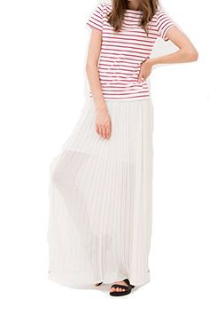 TBN Fashion White background Red stripes TShirts Short sleeve L *** Click image to review more details.