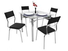 Conjunto de Mesa Aço Carbono com 4 Cadeiras - Estofadas - Somopar Tuane com as…