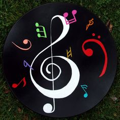 Colorful 20 inch music motif lazy susan with black background... THIS IS $125, I COULD USE THIS AS A  REFERENCE  DO IT MYSELF