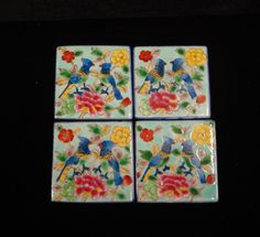 $35.1 on SALE  Hand Painted Graphic Square Porcelain Coaster 4 Pcs