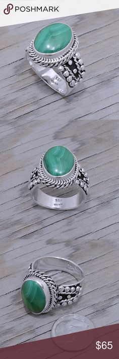 """Sterling Silver & Malachite Ring Stamped """"925 MA-136"""". Manufacturers ID  This is not a stock photo. The image is of the actual article that is being sold  Sterling silver is an alloy of silver containing 92.5% by mass of silver and 7.5% by mass of other metals, usually copper. The sterling silver standard has a minimum millesimal fineness of 925.  All my jewelry is solid sterling silver. I do not plate.   Hand crafted in Taxco, Mexico.  Will ship within 2 days of order. Jewelry Rings"""
