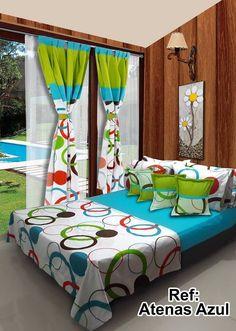Ref: Atenas Azul. Disponible en cortinas, cojines, juegos de baño y sábanas en todas las medidas: Sencilla (1mx1.90m), Semi (1.20mx1.90m), Doble (1.40mx1.90m), Queen (1.60mx1.90m) y King.#Atenas #Dalotex #Lenceria #Hogar #Sabanas #turquesa #colors  #SabanasDalotex #Acolchado Bed Cover Design, Pillow Design, Bedroom Sets, Bedding Sets, Fold Bed Sheets, Farmhouse Window Treatments, Bedspread, Bed Covers, Sheet Sets