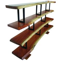 Rustic, modern bookshelf in wood and steel.