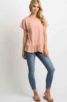 PinkBlush - Where Fashion Meets Motherhood Mauve, Blush Pink, Marina Laswick, Maternity Tops, Cuff Sleeves, Ruffle Trim, Fashion Models, Dress Up, Cotton