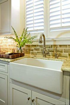 Beautiful Kitchen Sink and plantation shutters