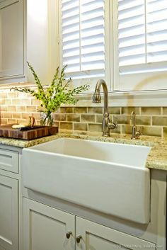 Beautiful Kitchen Sink and plantation shutters