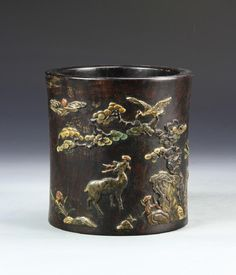 Lot: Chinese Hardwood Brush Pot, Lot Number: 0421, Starting Bid: $300, Auctioneer: Norwood Gallery, Auction: Asian Art and Antiques, Date: April 28th, 2017 CEST