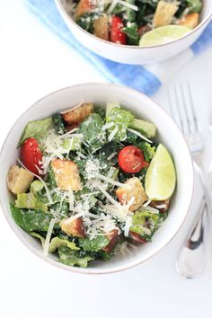This healthy recipe is the best kale Caesar salad you can make, and one of my favorite easy week-night dishes. It's delicious and nutritious!