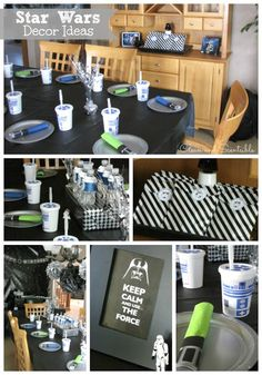 Clean & Scentsible: Star Wars Party Ideas - I like the black and white striped bags/graphic - possible color scheme - black,white, green and blue? Tema Star Wars, Aniversario Star Wars, Star Wars Decor, Carton Invitation, Pool Party Invitations, 6th Birthday Parties, Birthday Ideas, Birthday Decorations, Happy Birthday
