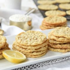 Lemon Oatmeal Cookies Oatmeal Cookies, Lemon Extract, Cake Mix Cookies, Easy Cookie Recipes, Baking Soda, Yummy Food, Treats, Snacks, Desserts