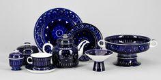 Arabia Finland Valencia | C20Ceramics Valencia, Kosta Boda, Ceramic Decor, Blue Design, Punch Bowls, Finland, Dinnerware, Decorative Bowls, Scandinavian