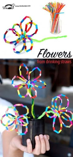 Flowers from from drinking straws