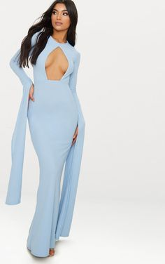 4fee241d16e Dusty Blue Cut Out Detail Drape Sleeve Maxi Dress Daily Dress