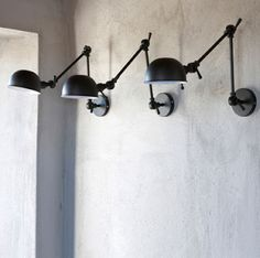 TREND: Industrial Wall Sconces Light Your Shelves — Statements in Tile/Lighting/Kitchens/Flooring Interior Lighting, Home Lighting, Kitchen Lighting, Lighting Design, Lighting Stores, Task Lighting, Bedroom Lighting, Wall Sconce Lighting, Wall Sconces
