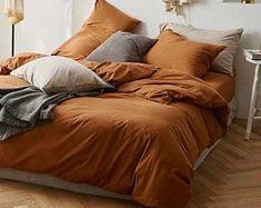 Orange duvet cover king   Etsy Burnt Orange Comforter, Orange Bedding, White Duvet, Comforter Cover, Duvet Cover Sizes, Duvet Sets, Orange Duvet Covers, 100 Cotton Duvet Covers, Boho Bedding