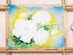 """Poppies"" panels in cold batik technique on cotton - Fair Masters - handmade, handmade"