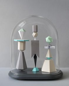 Sculpted geometric shapes created by Mark of Present  - via designcrush