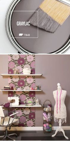 Stay ahead of the latest home decor trends with a little help from Graylac by BEHR Paint. This modern gray hue includes both warm and cool undertones, meaning it can complement a variety of color palettes. Click here to see how this DIY craft room makeover uses a fresh coat of paint to create a one-of-a-kind style.