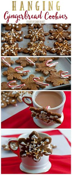 This Hanging Gingerbread Cookie recipe is a unique spin on the classic. Just add… This Hanging Gingerbread Cookie recipe is a unique spin on the classic. Just add a small candy cane to the back and hang the cookies from a nice warm cup of cocoa! Xmas Food, Christmas Sweets, Christmas Cooking, Christmas Gingerbread, Christmas Goodies, Gingerbread Cookies, Christmas Holidays, Gingerbread Houses, Best Gingerbread Cookie Recipe