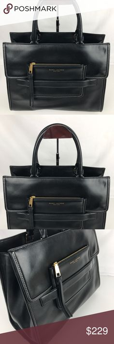 """Marc Jacobs Madison North South Leather Tote Condition: Gently used. A few minor marks but overall good condition inside and out.   Beautiful smooth leather and highlighted by meticulous topstitching and logo-embossed goldtone hardware. Dual interior compartments with a zip divider offer easy organization. 14""""W x 5.5""""D x 11""""H; 6"""" handle drop, 15"""" strap drop. Style M0008141. Our Bag # RB346.  Thank you for your interest!   PLEASE - NO TRADES / NO LOW BALL OFFERS / NO OFFERS IN COMMENTS - USE…"""
