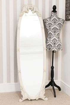 71802f77a50 Cambridge Decorative Cream Free Standing Mirror 165 x 48 cm