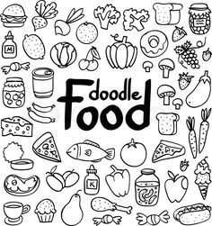 Stock vector of 'Doodle food set of 50 various products, fruits, vegetables and much more.'