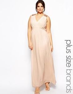 Little Mistress Grecian Maxi With Embellished Shoulders