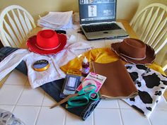 PBdesigns: Confessions of a Wannabe Seamstress: DIY Toy Story Costumes Mens Woody Costume, Woody And Jessie Costumes, Jessie Toy Story Costume, Toy Story Costumes, Maleficent Costume Kids, Movie Halloween Costumes, Diy Costumes, Halloween Customs, Group Costumes