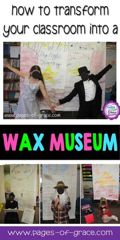 """Transform your classroom into a wax museum! This project is such a fun and engaging way for students to learn about people from history. Students research a person, write a biography, and """"be"""" the person in a living wax museum. This project is great for upper elementary and middle school students. Great addition to social studies curriculum for state, US, and world history. Click on the picture to see more details and to buy a packet that has everything you need to do this project."""