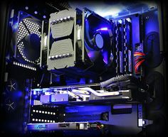 Blue computer PC tower setup liquid cooled