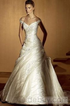Gorgeous A-line Sleeveless Off-the-Shoulder Floor-Length Court Wedding Dresses (3AA0168)