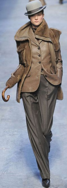 HERMES: Nothing is sexier than a woman in men's wear! Love this look; (but I cannot explain the furry cane / hook hand accessory? Mode Chic, Mode Style, Style Me, Classy Style, Fashion Week, High Fashion, Winter Fashion, Womens Fashion, Street Fashion