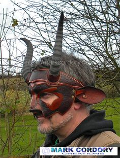 Leather animal mask and horns made for LARP by Mark Cordory Creations