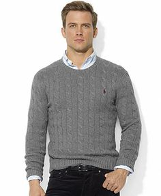 Polo Ralph Lauren Sweater, Roving Crew Neck Cable Cotton Sweater
