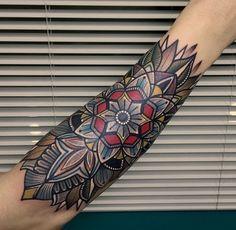 Forearm Tattoo // 30+ Beautifully Colourful Traditional Tattoos