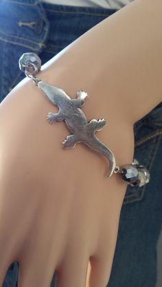 Alligator Crocodile Bracelet   Beaded   Matching Earrings   Reptile   Animals   lgbstyles jewelry   Glass   Women Teen Girls   Silver Beads by LGBStyles on Etsy