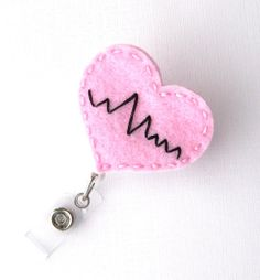 Pink EKG Heart  Cardiac Nurse Badge Pull  Cute by BadgeBlooms, $7.00
