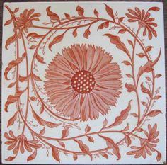 Super, symmetrical, light and scrolling aesthetic floral design from Mintons China Works printed in bright, slightly pink, terra cotta color on a white clay body with fine, glossy glaze. Excellent...