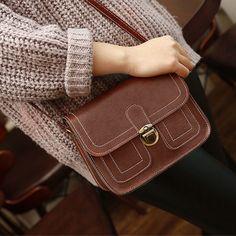 Women Pu Retro Mortise Lock Stitching Phone Bag Oblique Crossbody Shoulder Bag
