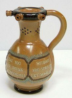 Doulton Lambeth Glazed Stoneware Puzzle Jug