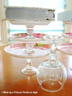 DIY 99 Cent Store Dessert Tier and Pedestal Bowls - Made by A Princess