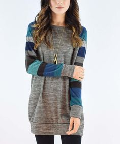 Look at this #zulilyfind! éloges Gray & Jade Stripe Raglan Tunic by éloges #zulilyfinds
