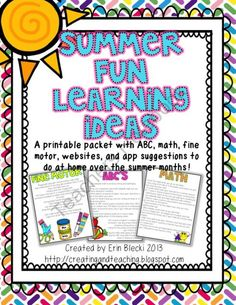 FREE  Summer Fun Idea Packet from Creating Teaching on TeachersNotebook.com (8 pages)