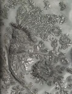Silver embroidery on net on Empress Josephine's court gown. Image @Madame Guillotine