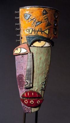 Kimmy Cantrell Sculpture -visions flow from his soul. Art Sculpture, Pottery Sculpture, Ceramic Sculptures, Metal Art, Wood Art, Kimmy Cantrell, Art Visage, Ceramic Mask, Clay Faces